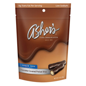 Asher'S Sugar Free Chocolate Covered Pretzel Bites 3 Oz Bag 12Ct Case