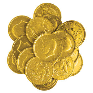 "Nassau Candy Gold Foil Chocolatey Candy Kennedy Coins 1.5"" 6.00Lb Box"