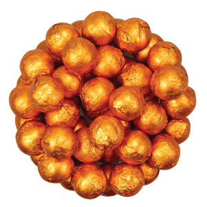 Niagara Chocolates Orange Foiled Milk Chocolate Balls 10.00Lb Case