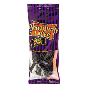 Broadway Laces Black Licorice 4 Oz Peg Bag *Not For Sale In California* 12Ct Case