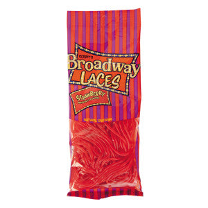 Broadway Laces Strawberry Licorice 4 Oz Peg Bag 12Ct Case