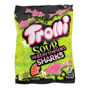 Trolli Sour Watermelon Sharks 5 Oz Peg Bag 12Ct Case