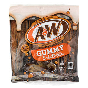 A&W Root Beer Gummy Soda Bottles 4.5 Oz Peg Bag 12Ct Case