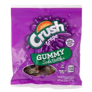 Grape Crush Gummy Soda Bottles 4.5 Oz Peg Bag 12Ct Case