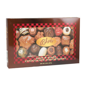 Asher'S Milk And Dark Chocolate Assortment 8 Oz Box 12Ct Case