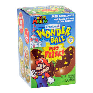 Wonder Ball Mario Milk Chocolate And Toy Surprise 1 Oz Box 10Ct Box