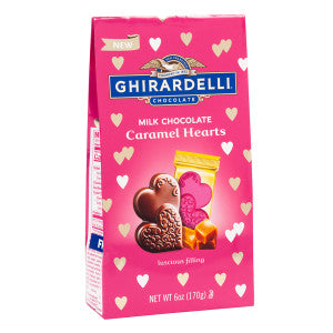 Ghirardelli Milk Chocolate Caramel Hearts 6 Oz Bag 12Ct Case