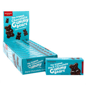 Koppers Dark Chocolate Gummy Bears 2.5 Oz Theater Box 12Ct Box