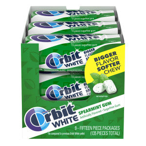 Orbit White Soft Chew Spearmint Gum 1.06 Oz 9Ct Box