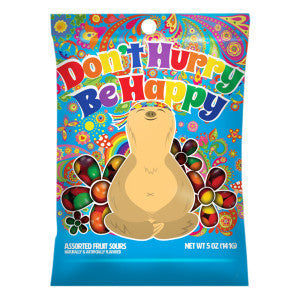 Amusemints Don'T Hurry Be Happy Sloth Fruit Sours 5 Oz Peg Bag 12Ct Case