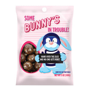 Some Bunnys In Trouble Dark Chocolate Malt Balls Peg Bag 12Ct Case