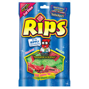 Rips Sour Licorice Pieces 4 Oz Peg Bag 12Ct Case