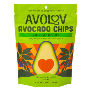 Avolov Chili Lime Avocado Chips 1 Oz Peg Bag 12Ct Case