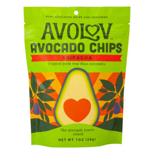 Avolov Sriracha Avocado Chips 1 Oz Peg Bag 12Ct Case