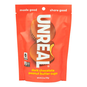 Unreal Dark Chocolate Peanut Butter Cups 4.2 Oz Pouch 6Ct Case