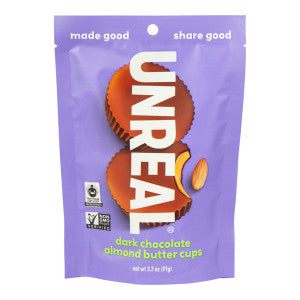 Unreal Dark Chocolate Almond Butter Cups 3.2 Oz Pouch 6Ct Case