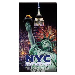 Nyc Souvenir Liberty Firework 3 Oz Milk Chocolate Wrapper Bar 20Ct Case