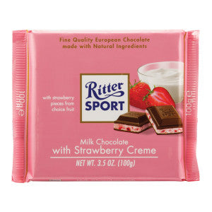 Ritter Sport Milk Chocolate With Strawberry Creme 3.5 Oz Bar 12Ct Box