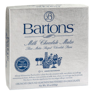 Bartons Kosher For Passover Milk Chocolate Almond Matzo 10 Oz 6Ct Case