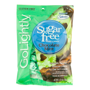 Go Lightly Sugar Free Chocolate Mint Hard Candy 2.75 Oz Peg Bag 12Ct Case