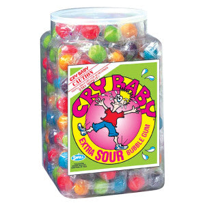 Cry Baby Wrapped Extra Sour Bubble Gum Tub 240Ct Box