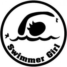 Swimmer Girl/Swimmer Dude Round Decal