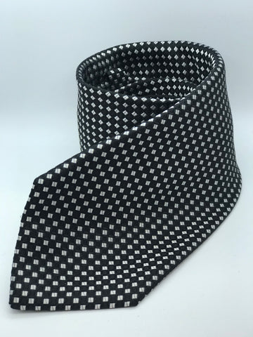 100% Pure Silk Black & White Dice Check Tie.