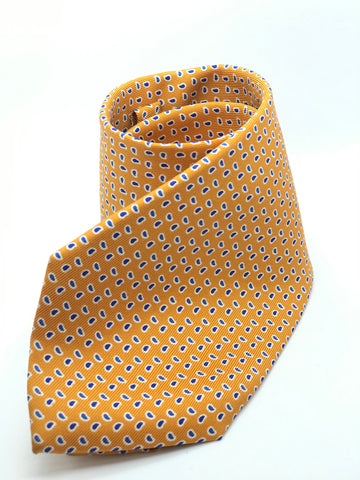 100% Pure Silk Soft Orange with Blue Paisley Boteh Print Tie.
