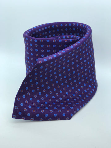 100% Pure Silk Purple with Blue & Burgundy Polka Dot Tie.