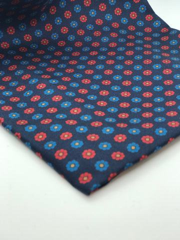 Silk Blue with alternating Red & Blue Flowers Pocket Square