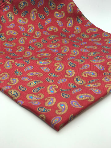 Silk Red with Paisley Botah Pocket Square