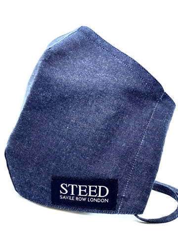New! Steed branded Face Mask - Denim Blue (Elasticated & Hand Tie options)