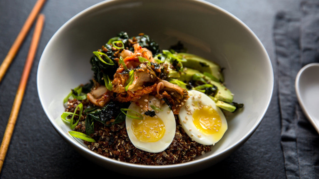 Healthy Quinoa & Rice Bowl With Kale, Kimchi, & Egg