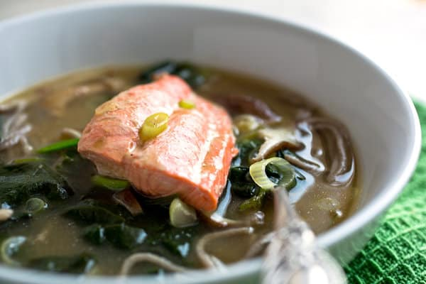 Salmon Bowl With Noodles, Mushrooms, And Spinach