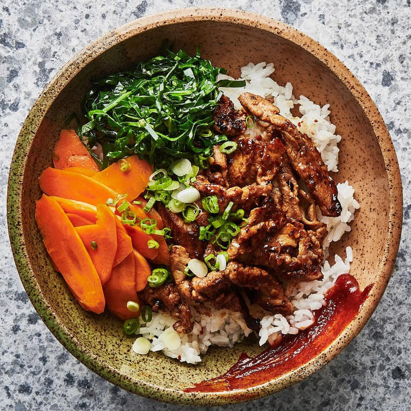 Spicy Pork Bowl With Greens And Carrots
