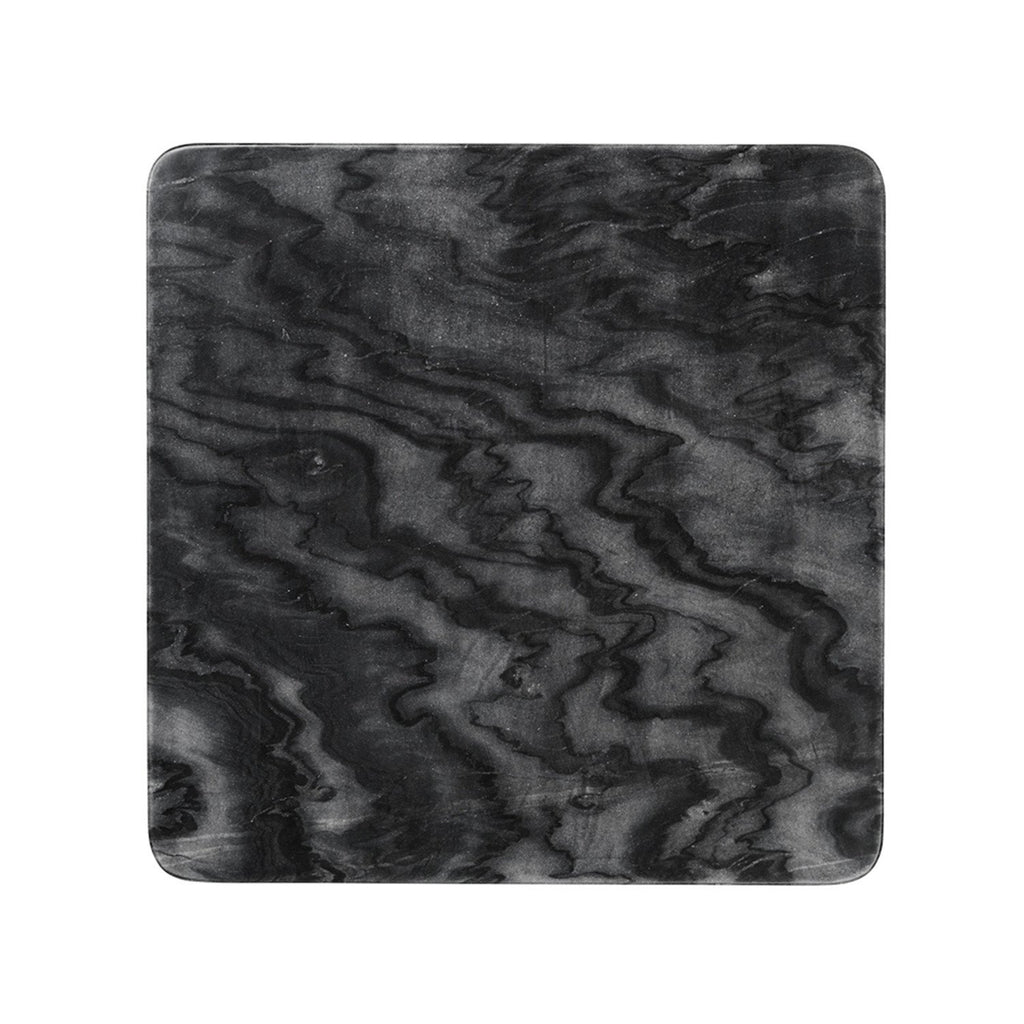 Detailed black marble bobby plate.