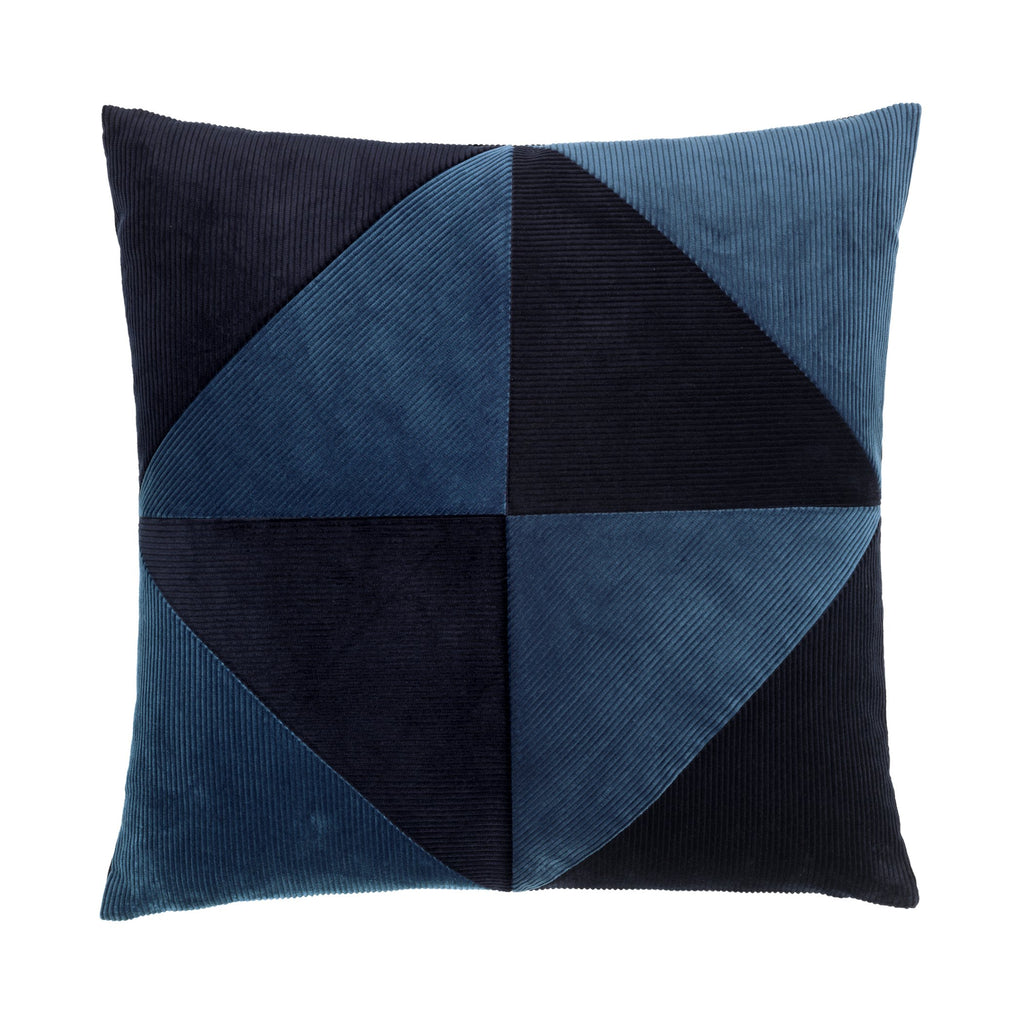 cushion in simple graphical pattern and different shades of blue.