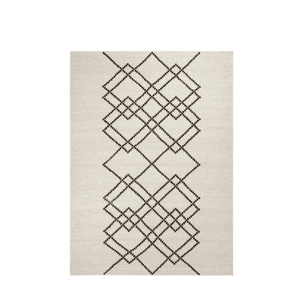 Packshot of ecru handwoven BORG wool rug with graphic black lines.