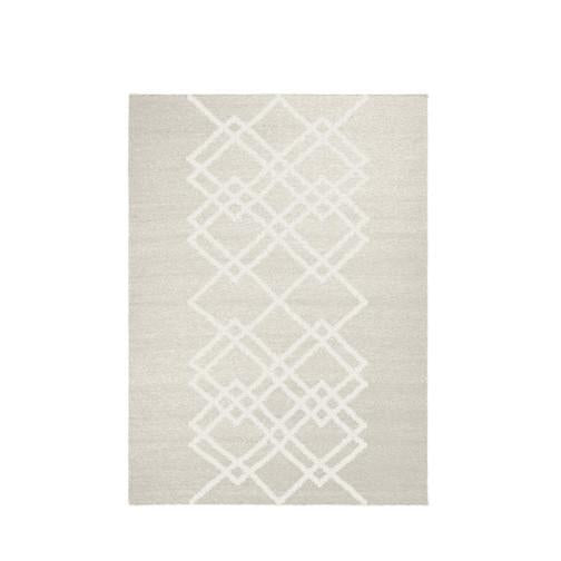 Packshot of ecru handwoven BORG wool rug with graphic lines in ecru.