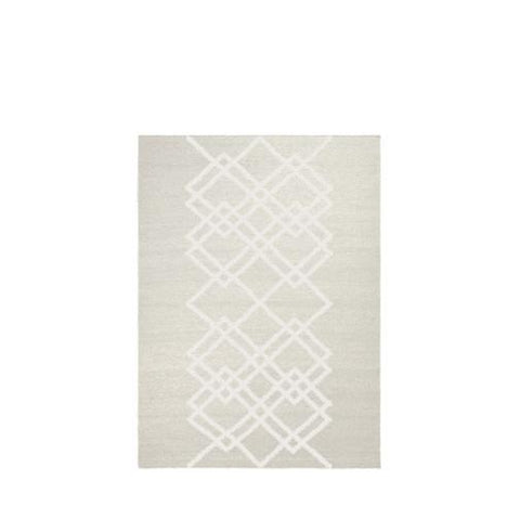 Packshot of ecru handwoven BORG wool rug with graphic ecru lines.