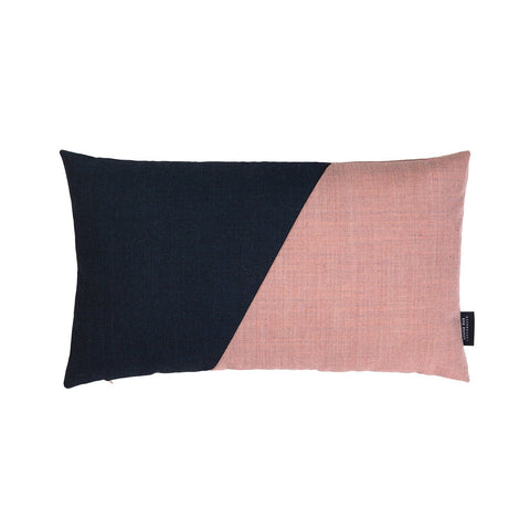 Little architect cushion with the color combination rose and dark blue.