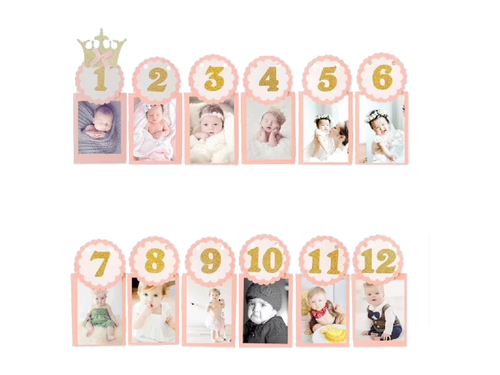 12 Month Photo Banner - Light Pink Color - Evibe.in