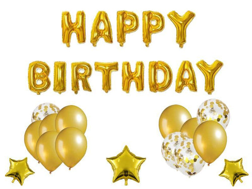 Happy Birthday Foil Combo - Gold Color - Evibe.in