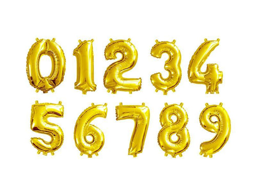 Gold Color Number Foil Balloon - Evibe.in