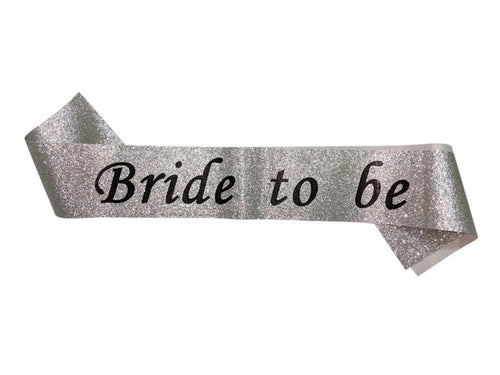 Glitter Bride To Be Sash - Silver Color - Evibe.in
