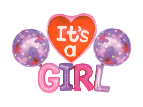 Its A Girl Foil Balloon Combo - Pink Color - Evibe.in