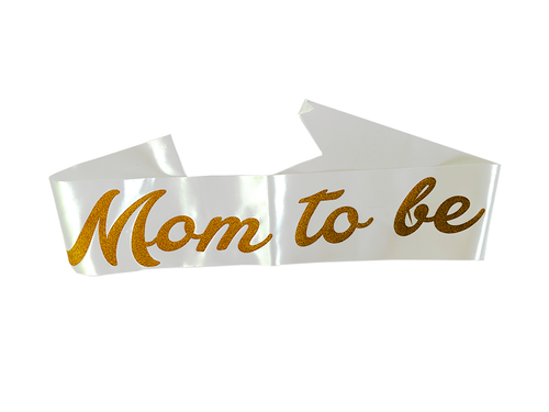 Mom To Be Sash - White & Gold Color - Evibe.in