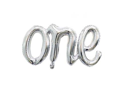 ONE Letters Attached Foil Balloon - Silver Color - Evibe.in