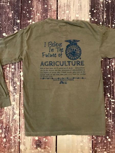 Long Sleeve I Believe in the Future of Agriculture, Grey