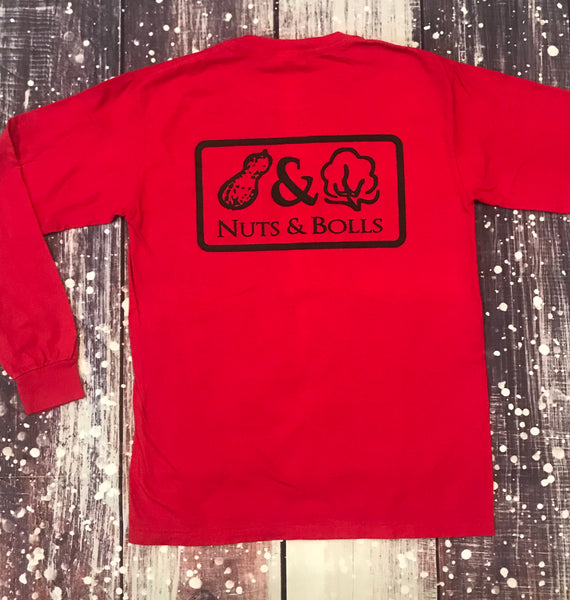 Long Sleeve Bold Tee, Red & Black